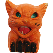 Halloween decoration pulp Paper Mache Cat on fence Jack O Lantern USA 1930's