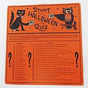 """Stunt Halloween Quiz"" Halloween game USA Beistle, HE Luhrs mark"