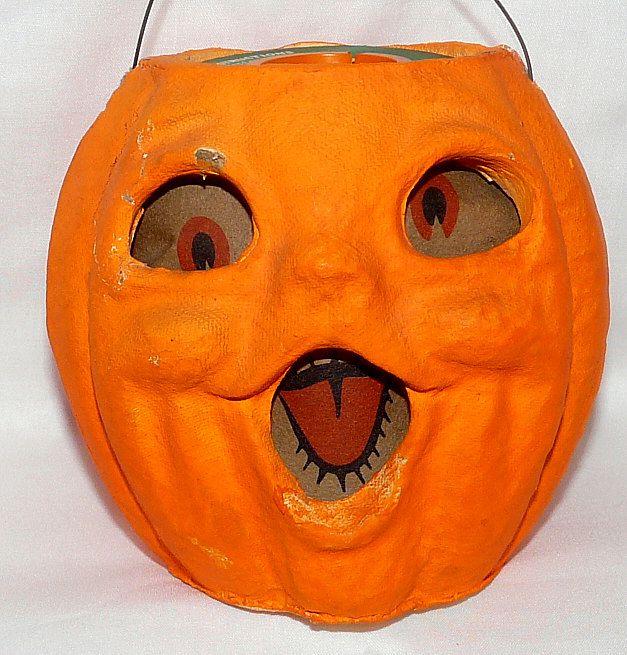 "Vintage medium size Paper Mache ""egg crate"" Choir boy Jack O' Lantern pumpkin Halloween decoration 1950s"