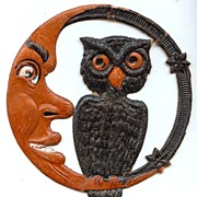 Small cardboard Crescent Moon Man & Owl Halloween decoration German 1920s