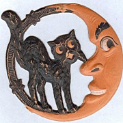 Small Crescent Man in the Moon with Standing Cat Halloween decoration – German 1920s