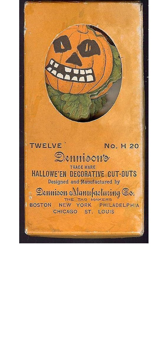 Dennison Halloween decorative Cut outs for ices, cakes puddings Scary Jack O' Lantern Pumpkin 1920s Rare