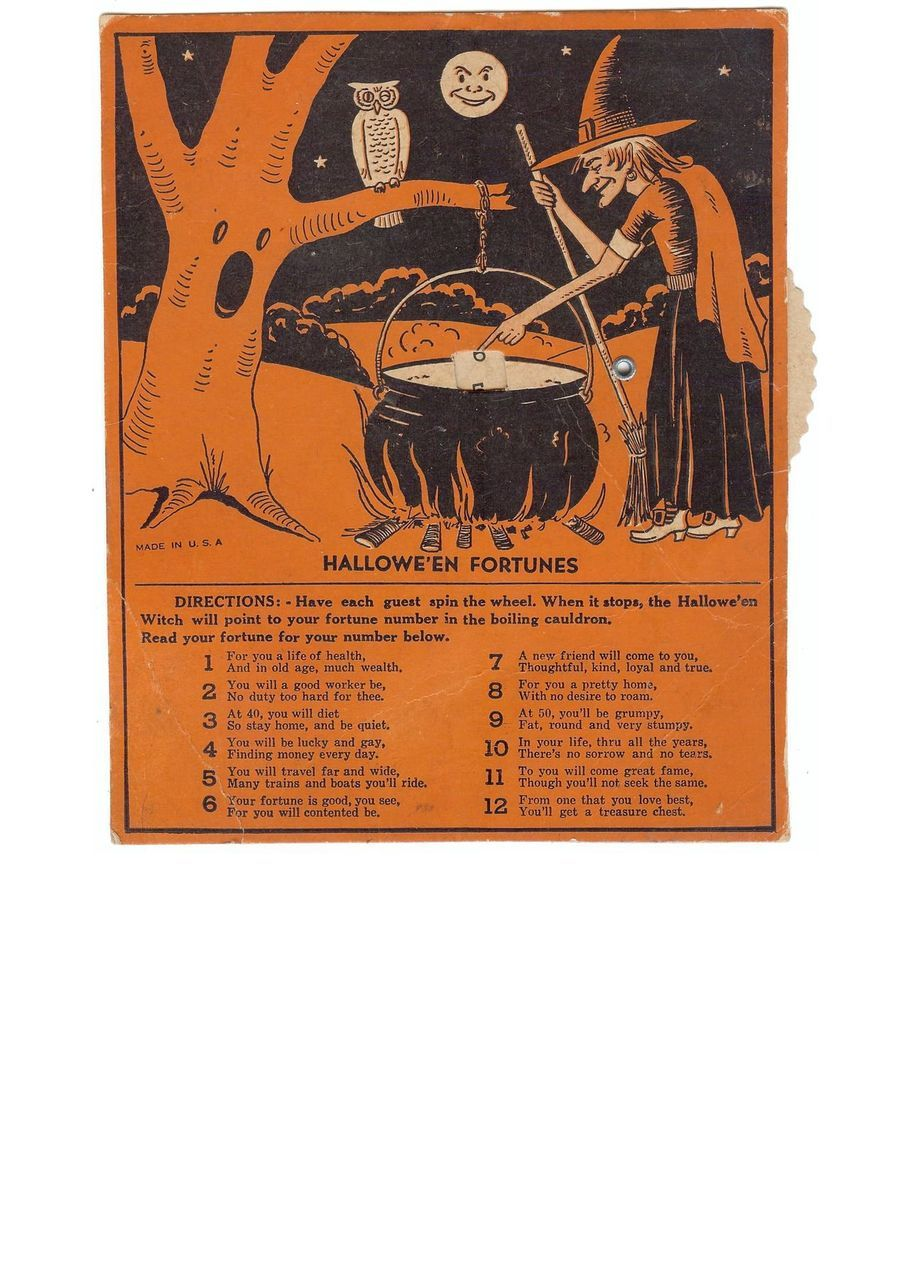 Vintage Beistle Halloween Fortunes Game Excellent USA 1940s