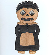Small Jack O' Lantern Maid cardboard Halloween decoration German 1920s
