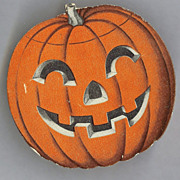 Jack O' Lantern cardboard candy container, USA 1950s