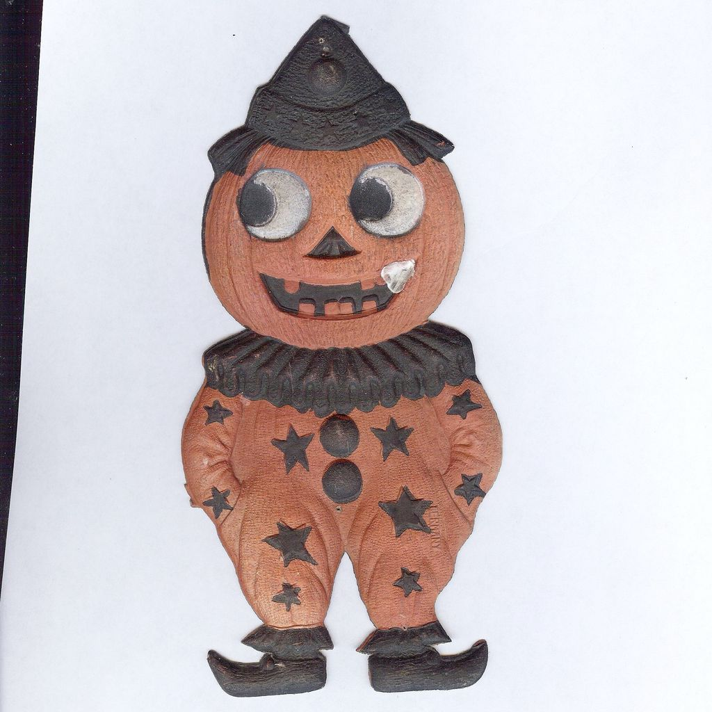 Small Jack O' Lantern Clown cardboard Halloween decoration German 1920s