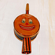 Jack O' Lantern Face Halloween Horn Drum Shaker Noisemaker – Germany 1930s