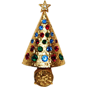 Press 'n Glow Christmas tree brooch Hattie Carnegie Company 1964