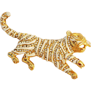 Vintage Hattie Carnegie White Tiger Brooch Pin 1970's