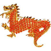 Rare hard to find Hattie Carnegie Roaring Chinese Dragon Brooch Pin 1970's