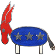 Vintage Hattie Carnegie large size brooch/pendent necklace depicting a Patriotic Democrat Donkey
