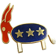 Vintage Hattie Carnegie large size brooch/pendent depicting a Patriotic Democrat Donkey