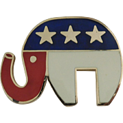 Vintage Hattie Carnegie large size brooch/pendent depicting a Patriotic Republican Elephant