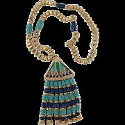 Hattie Carnegie Egyptian Revival Lotus flower pendent necklace – 1960's Beautiful