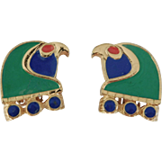 Hattie Carnegie Egyptian Revival Enameled Horus-Falcon Head Clip style earrings