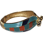 Egyptian Revival Gold plated and enameled double Cobra Snakes Heads Bangle Bracelet Hattie Carnegie 1970's