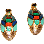 Hattie Carnegie Egyptian Revival series gold plated and enamel Snake Head Clip Earrings