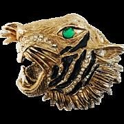 Fierce snarling large size Bengal Tiger Head Brooch Hattie Carnegie Company 1950's – 1960's