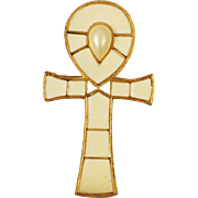 Beautiful off-white Ankh Brooch/Pendant Hattie Carnegie Egyptian Revival Series 1960's