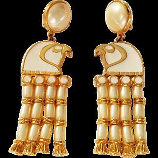 Egyptian Revival Enameled Horus-Falcon Head with tassels Clip style earrings Hattie Carnegie 1970's
