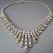 Beautiful Chocker Necklace brilliant Diamante white rhinestones with baguettes - Hattie Carnegie Rare 1940's – 1950's