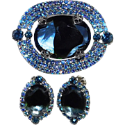Vintage light to dark blue cut-glass Brooch & matching Earring set early 1930's