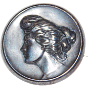 Victorian Repousse Gibson Girl sterling silver brooch Wightman and Hough Company 1910's