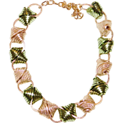 Unique Prototype WWII Era gold and silver colored Chunky Aluminum Necklace 1940's