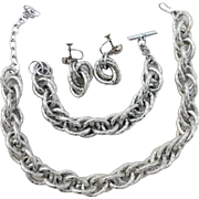 Unique Prototype WWII Era silver colored matching Chunky Aluminum necklace, bracelet & earring set 1940's