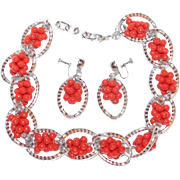 Unique Prototype WWII Era silver colored and red bead matching Chunky Aluminum necklace & earring set 1940's