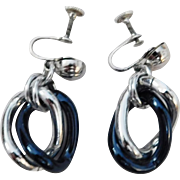 Unique Prototype WWII Era silver and blue colored Chunky Aluminum Earrings 1940's