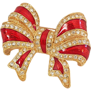 Vintage Holiday Red Christmas Bow with rhinestones Brooch/Pin Very Nice!