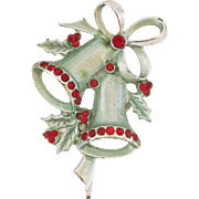 Vintage Red & Green Holiday Christmas Bells with holly Pin Cute!