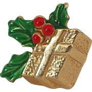Vintage Holiday golden wrapped Christmas box with holly pin Cute!