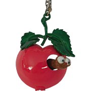 Vintage enameled nodding googly eye worm red Apple necklace Cute