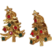 Vintage gold tone Christmas tree earrings with Red & Green rhinestones - clip backs Cute