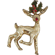 Vintage Holiday Enameled Gerry's Baby Reindeer with Holly silver-tone brooch/pin for Christmas!