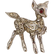 Vintage Holiday Christmas Brooch Pin Silver Reindeer with rhinestones very nice!