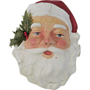 Vintage Santa Claus face with holly sprig wall hanger Christmas Decoration