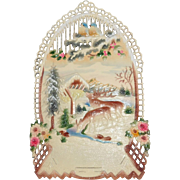 Vintage Wintery scene Deer Love Birds Calendar top Czechoslovakia 1920's