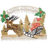 "German die cut Santa on Sleigh with Reindeer ""A Merry Christmas"" West Germany"