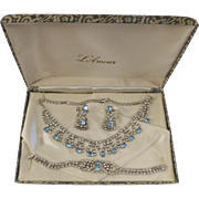 Vintage L'Amour Necklace, Bracelet, & Earrings blue rhinestones set Nice