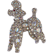 Classic Glittering French Poodle brooch iridescent rhinestones Pell Company 1960's
