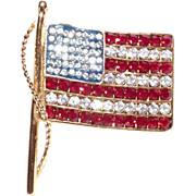 Patriotic US Flag rhinestone brooch Kenneth Jay Lane 1990