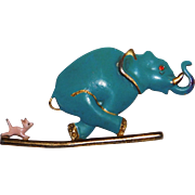 Vintage whimsical Mouse scaring running Elephant brooch Silson Company 1940's