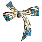 Trifari - Modern Mosaics series - poured glass white & blue large bow brooch – designer 'Alfred Philippe' 1966