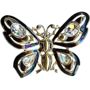 Gorgeous Trifari black enamel cut Chrystal Fancy Butterfly brooch - Excellent!