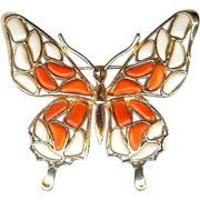 Modern Mosaics Butterfly brooch poured glass orange coral & white designed by Alfred Philippe – 1966 Trifari