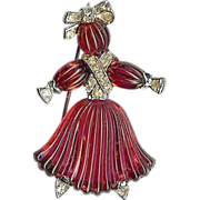 Ruby red colored Rag Doll Brooch – Pom Pom designed by Alfred Philippe – Trifari Company 1949