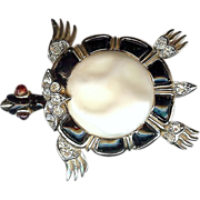 Trifari Ming series – Black and Pearl Belly Turtle brooch - Alfred Philippe designer 1960s version - Beautiful!